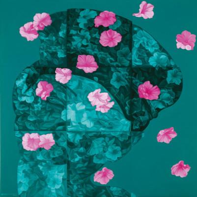 Feng-Zhengjie-Floating-Floras-Series-Lattice-Portrait-No.08-2011-Oil-on-Canvas-160x160cm