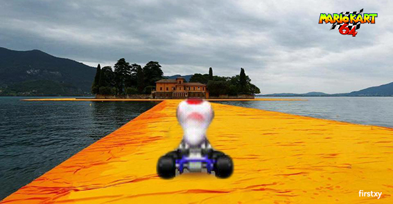 christo floating piers meme mario kart